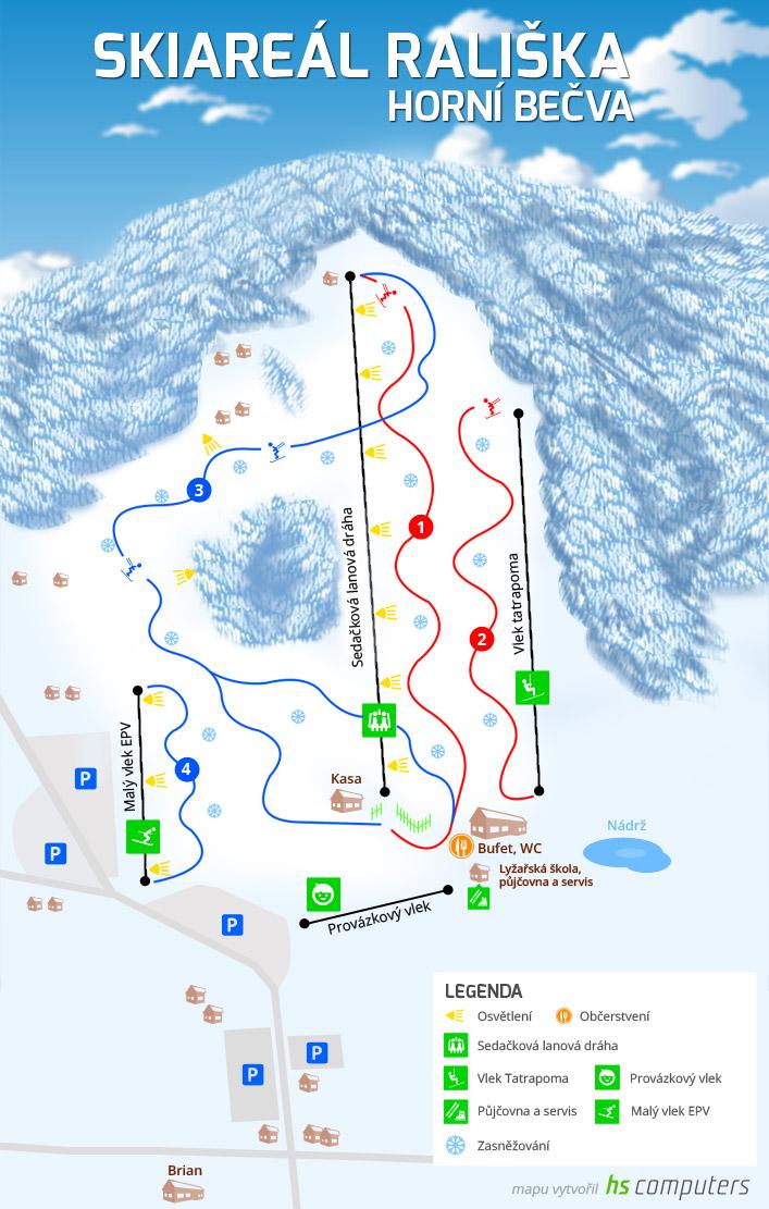 Mapa SKI areál Rališka Horní Bečva